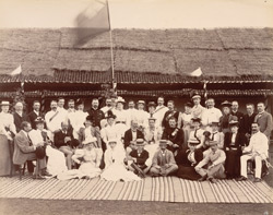 [Group portrait of] European guests at Guest Camp].